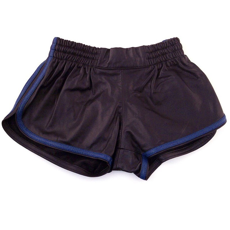 Rouge Leather Shorts, Black w/Blue Piping 32in