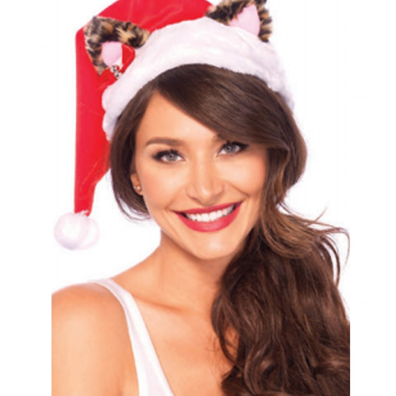 Santa Kitty Plush Hat With Mini Bell Bow O/S Multicolor