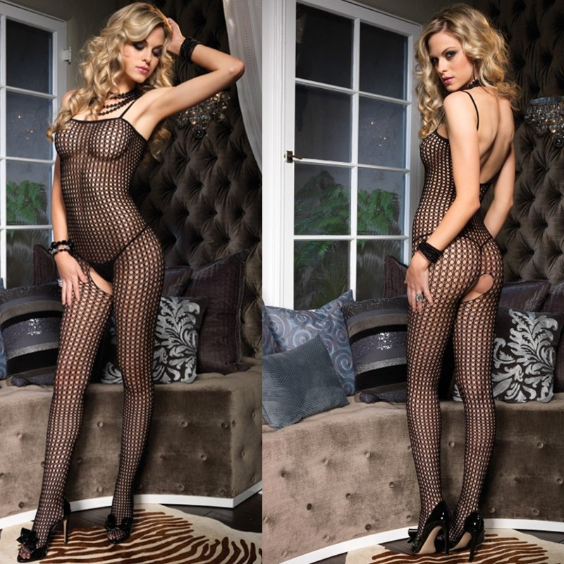 Seamless Crochet Bodystocking O/S Black