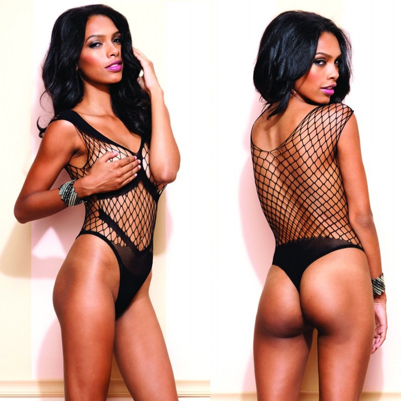 Seamless Diamond Net Thong Teddy w/Opaque Panel Accents O/S Black