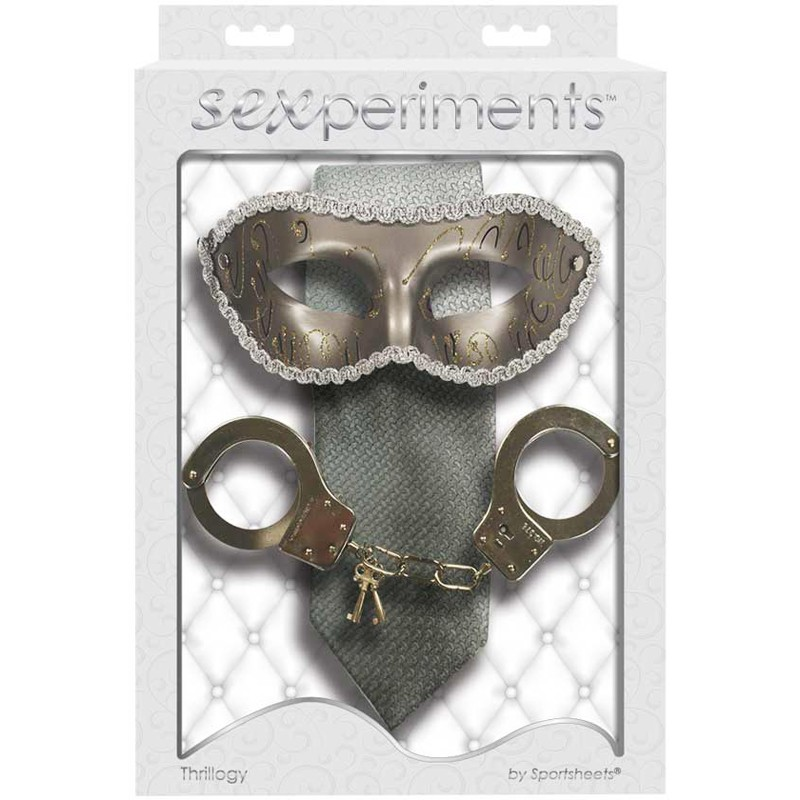 Sexperiments Thrillogy - The Grey Tie, Masquerade Mask, Metal Handcuffs with keys
