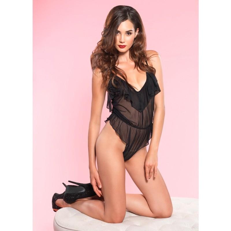 Sexy Sheer High Cut Flutter Ruffle Teddy w/Brazilian Back Sml/Med Black