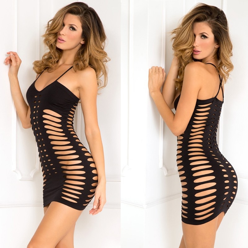 Sexy Side Slash Seamless Dress Black S/M