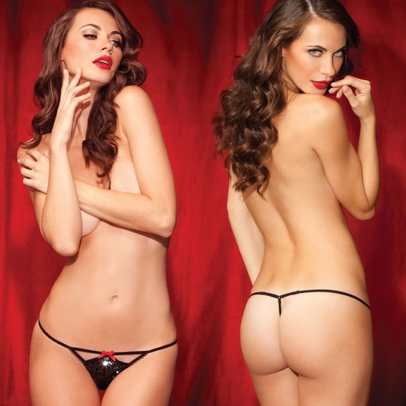 Sg Sequin Glamour Cutout G-string Blk L