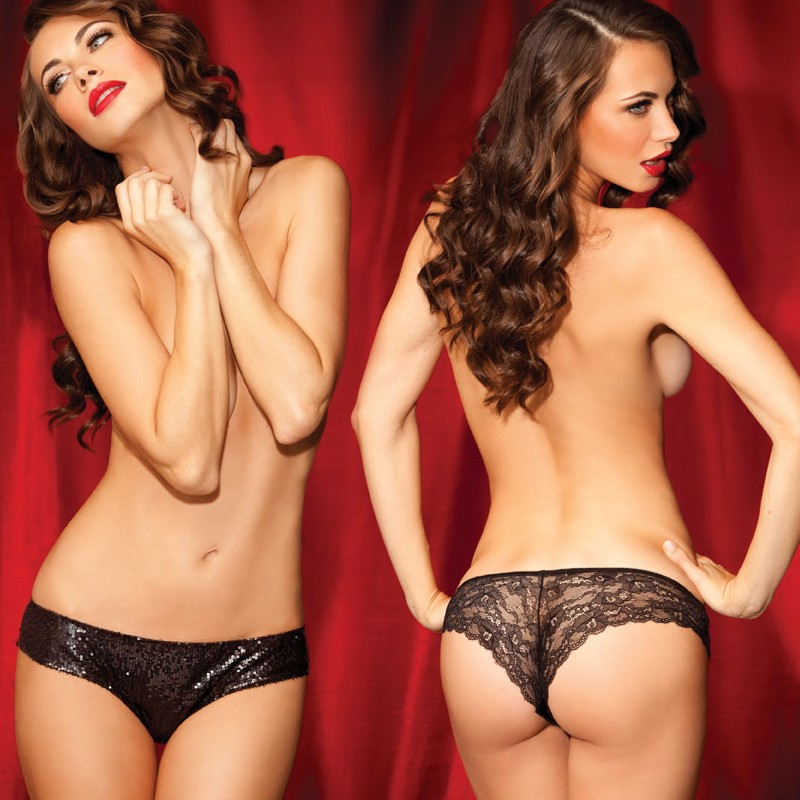 Sg Shining Star Sequin Front Tanga Blk L