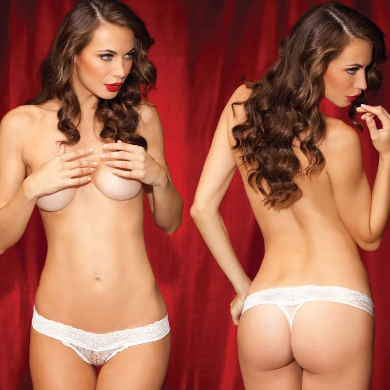 Sg Show Off Sequin Thong W/Mesh Bk Wht L