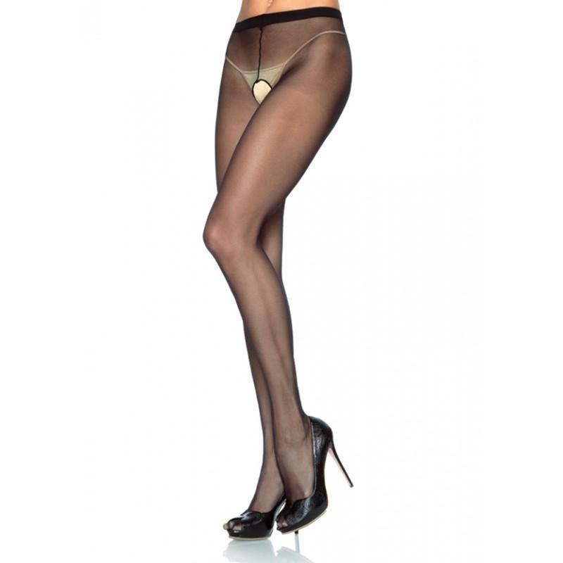 Sheer Nylon Crotchless Pantyhose O/S Beige