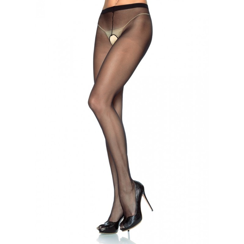 Sheer Nylon Crotchless Pantyhose O/S Black/Black