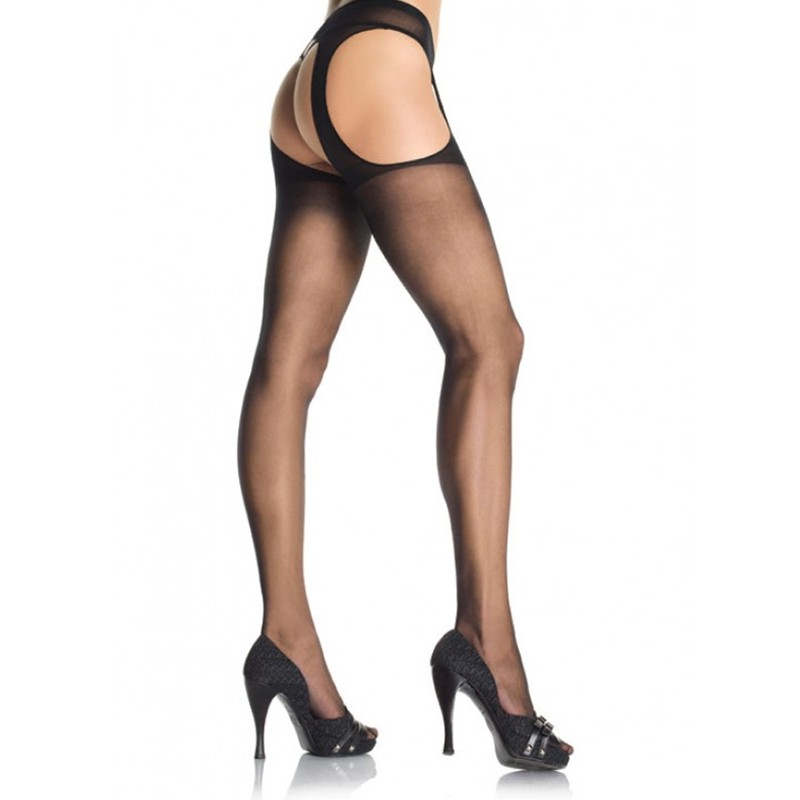 Sheer Suspender Pantyhose O/S Black
