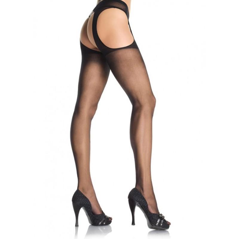 Sheer Suspender Pantyhose Plus Size Black