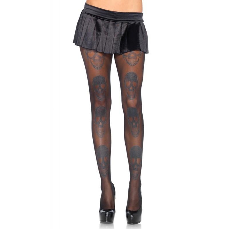 Shimmer Skull Sprint Spandex Sheer Pantyhose O/S Black/Silver