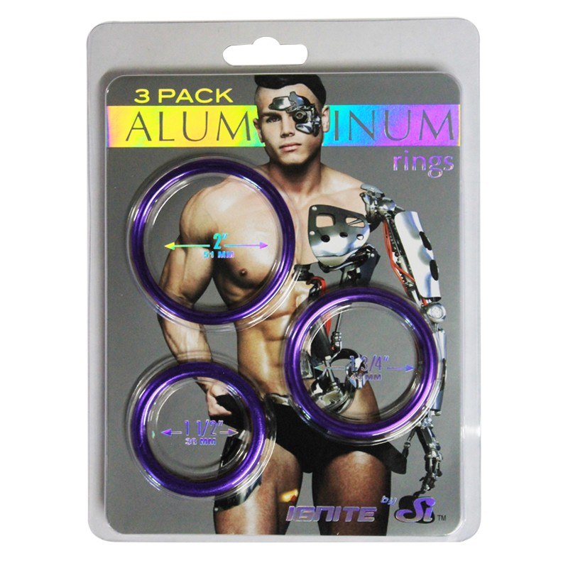SI Aluminum Metal Ring Royal Purple 3 pack (1.5in, 1.75in, 2in)