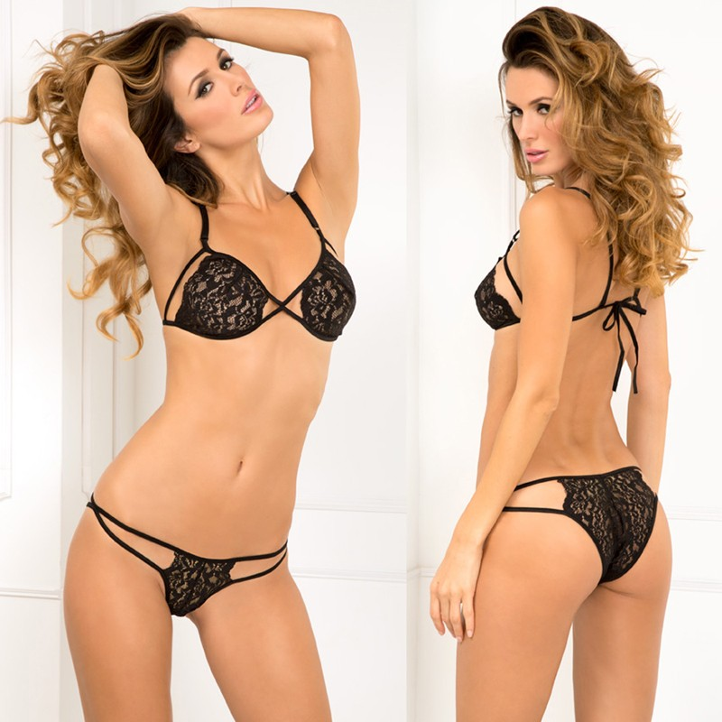Side Business Lace Bra & Panty Set Black O/S