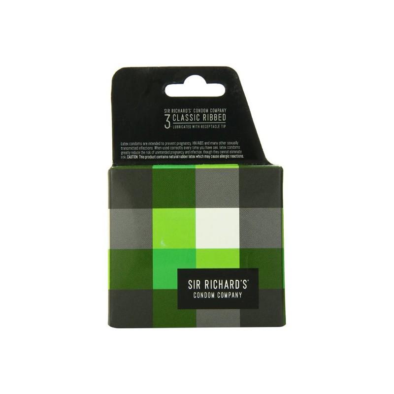 Sir Richards Classic Ribbed Condom 3pk