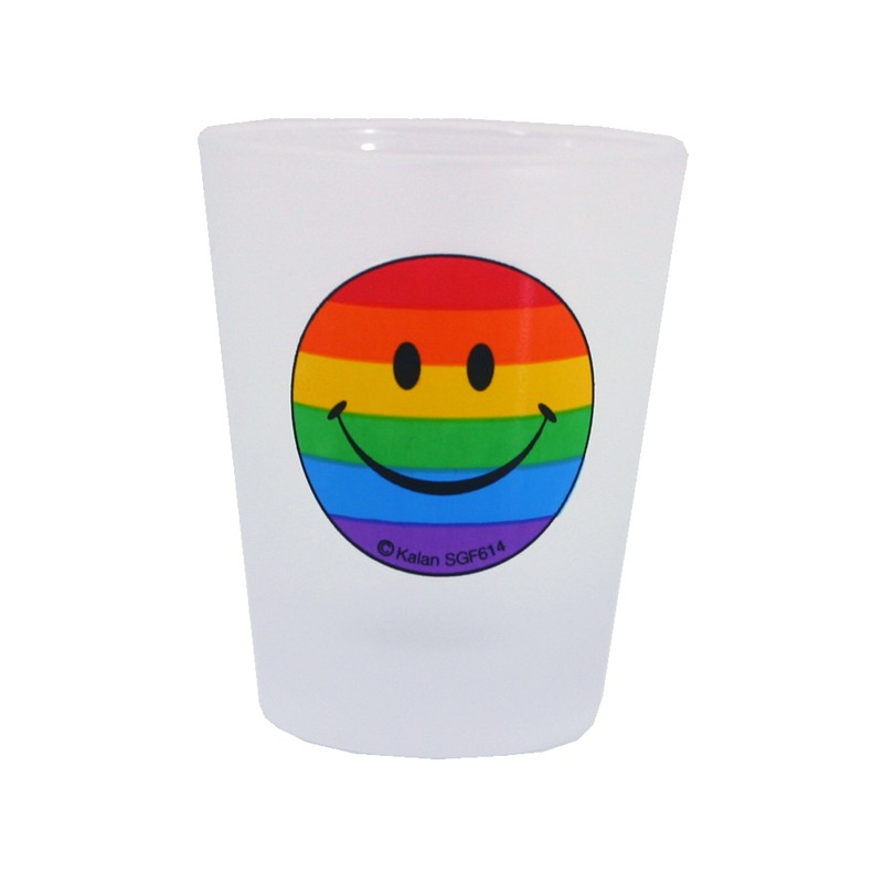 Smile Face With Rainbow Frosted Shot Glass 3pk
