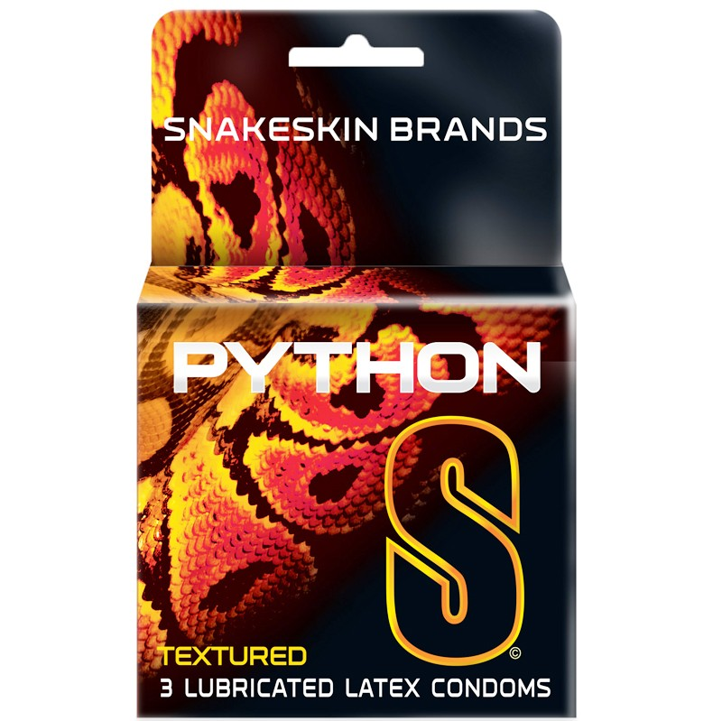 Snakeskin Python Lubricated Latex Straight Shaft, Dotted & Ribbed Condoms (3)