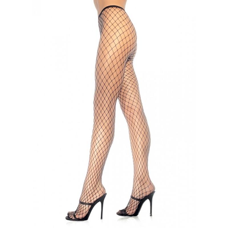 Spandex Diamond Panty Hose O/S Black