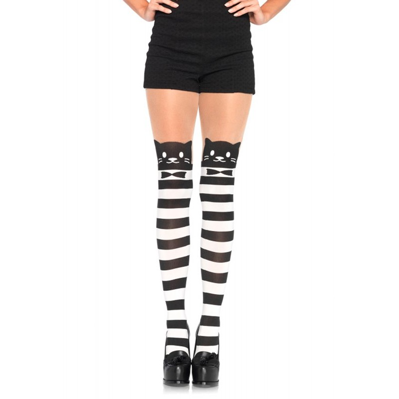 Spandex Fancy Cat Striped Opaque Pantyhose w/Sheer Thigh Accent O/S Black/White