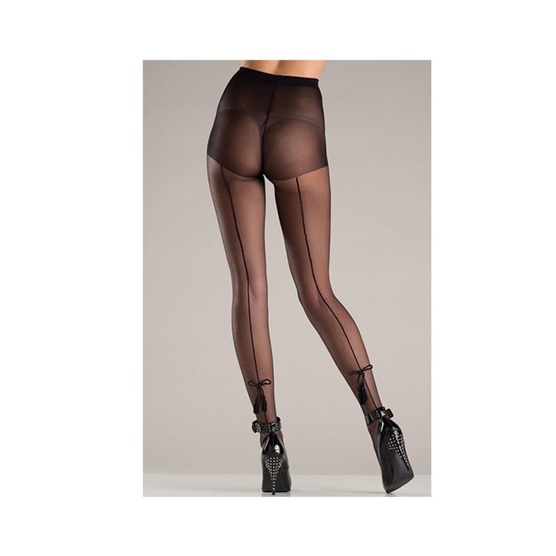 Spandex Sheer Back Seam Pantyhose W/Tassel Bow Design O/S Black