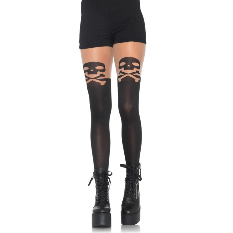 Spandex Skull And Crossbone Opaque Pantyhose W/Sheer Thigh Accent O/S Black