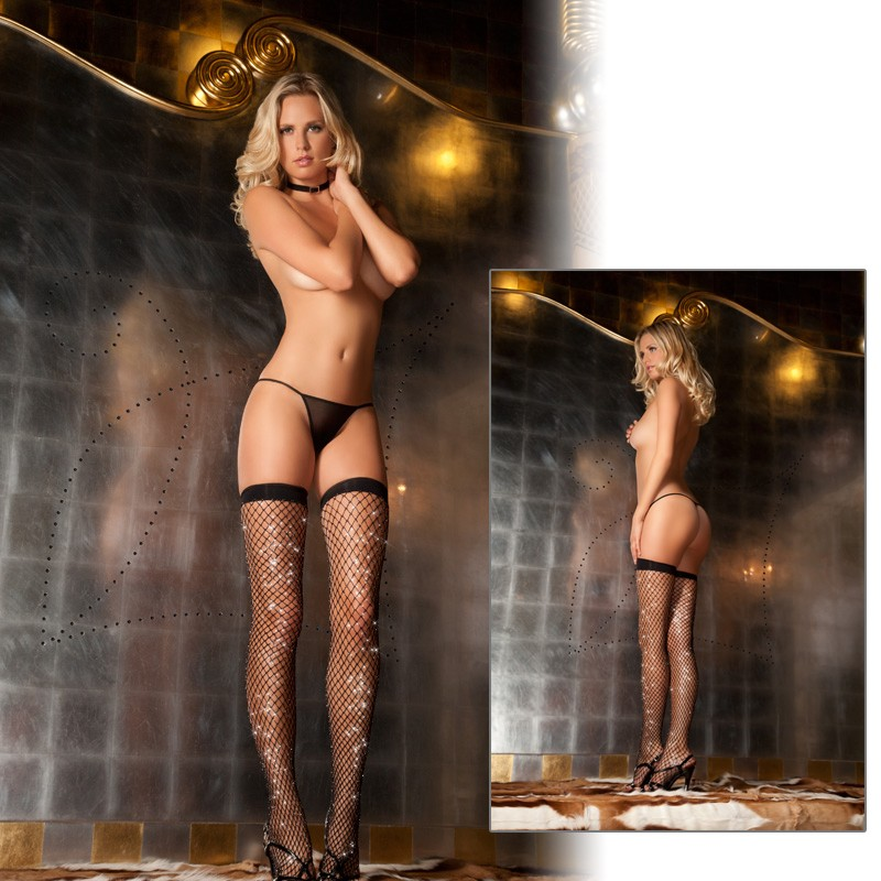 Sparkle Diamond Net Thigh High Black O/S