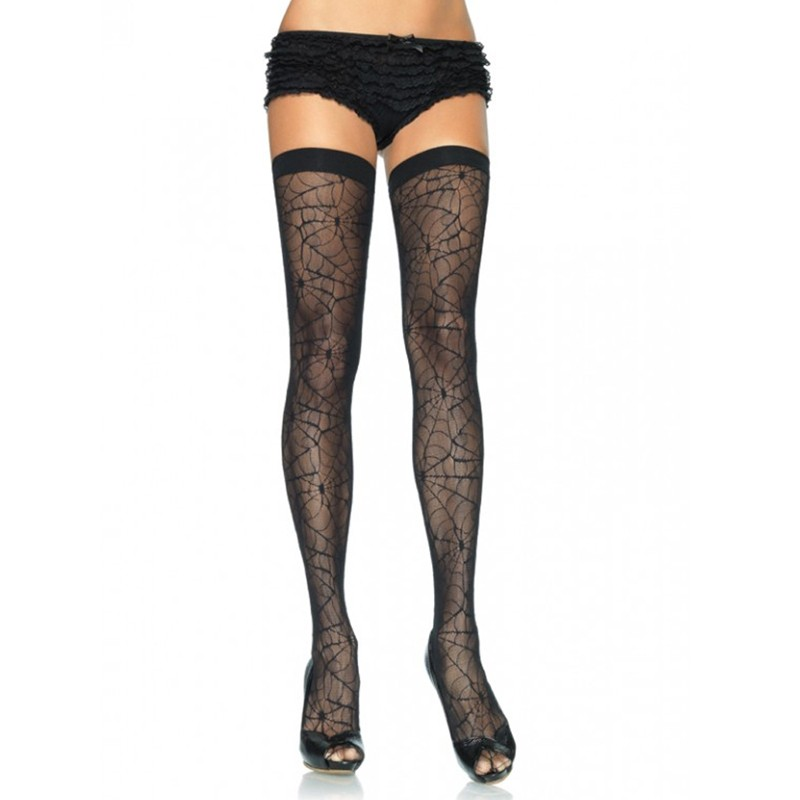 Spider Lace Thigh Hi O/S Black