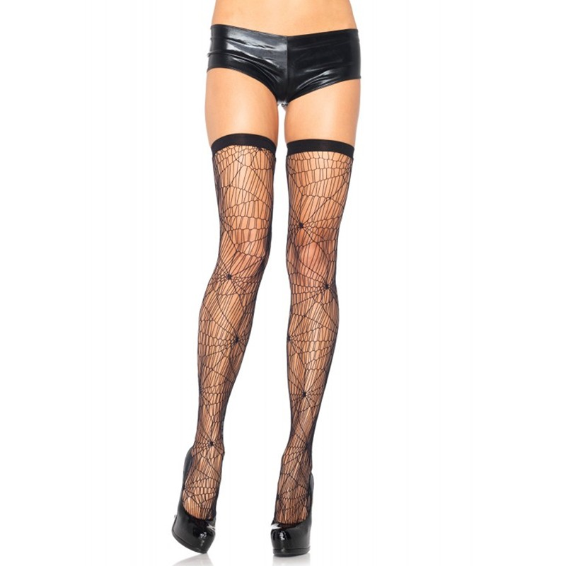 Spiderweb Net Thigh Highs O/S Black