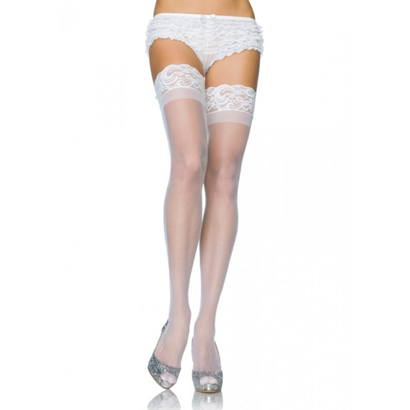 Stay Up 3in Lace Top Lycra Sheer Thigh High O/S White