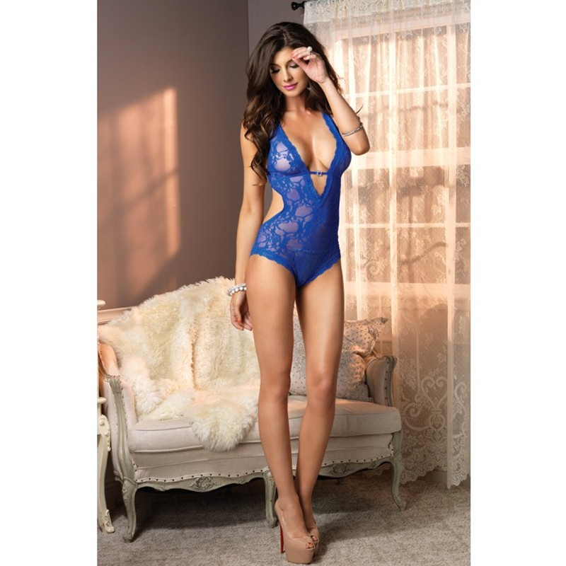 Stretch Lace Deep-V Halter Teddy With Faux Rhinestone Buckle Accent O/S Royal Blue