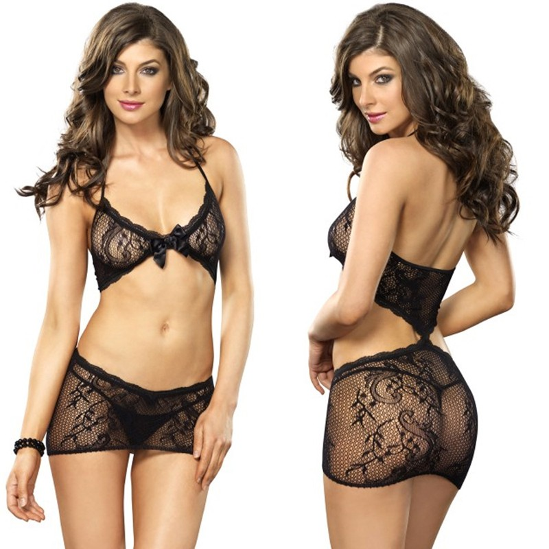Stretch Lace Illusion Chemise With Diamond Back Cut Out O/S Black