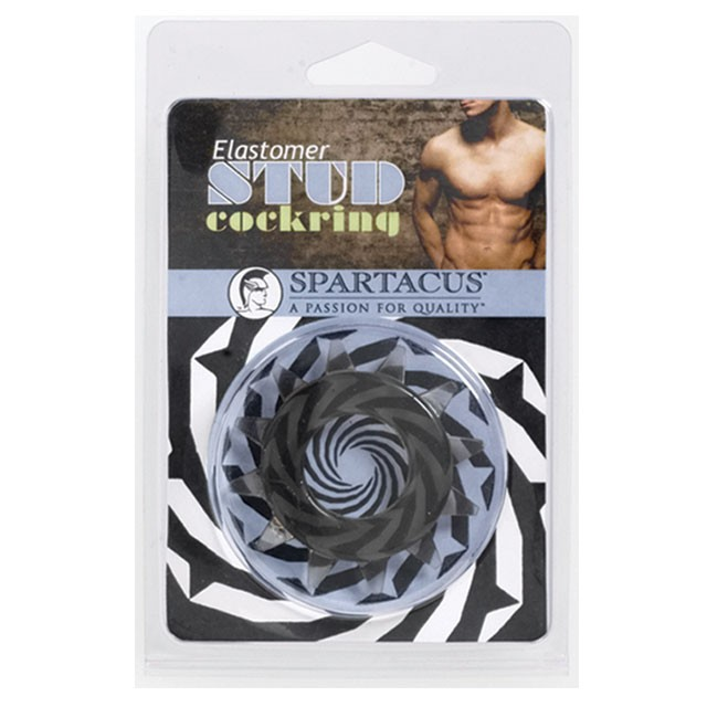 Stud Elastomer Cock Ring (Black)