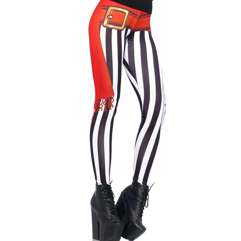 Swashbuckler Stripy Print Leggings With Sash And Sword Detail Large Black/White