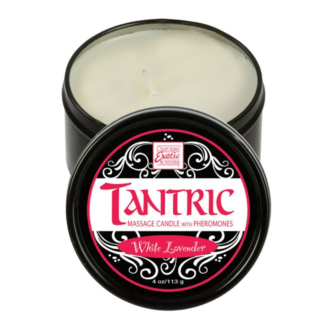 Tantric Soy Massage Candle with Pheromones  White Lavender 4oz