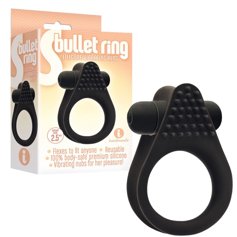 The 9's, S Bullet Ring, Silicone, Black