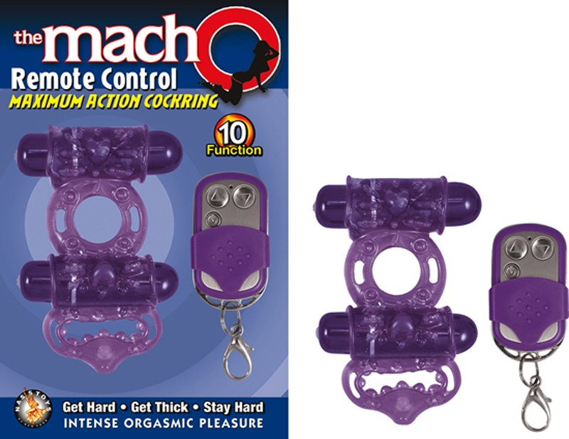 The Macho Remote Control Maximum Action Dual Stimulating Cockring, Waterproof, 10 Function Cockring Purple