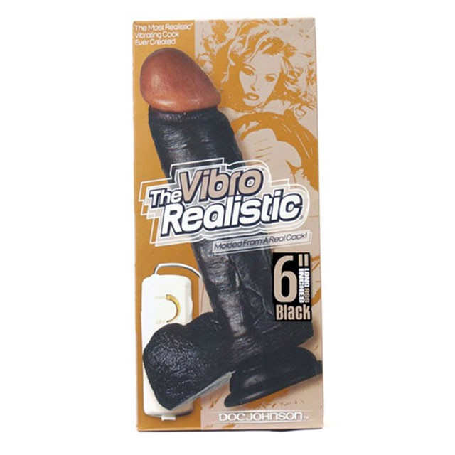 The Realistic Cock - Vibrating - 8 Inch Black