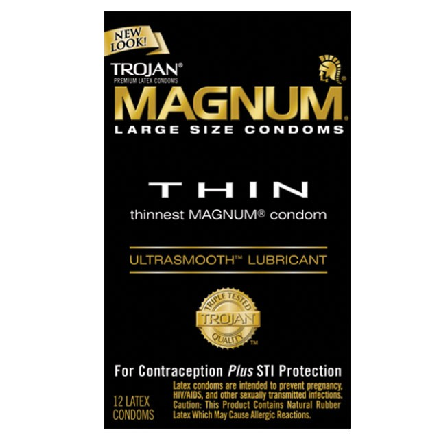 Trojan Magnum Thin Large Size Condoms with UltraSmooth Lubricant