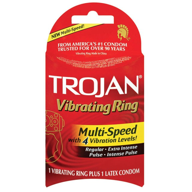 Trojan Multi-Speed Vibrating Ring with Latex Condom