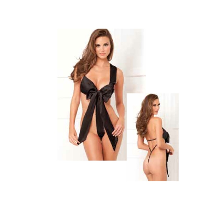 Unwrap Me Satin Bow Teddy Black S/M