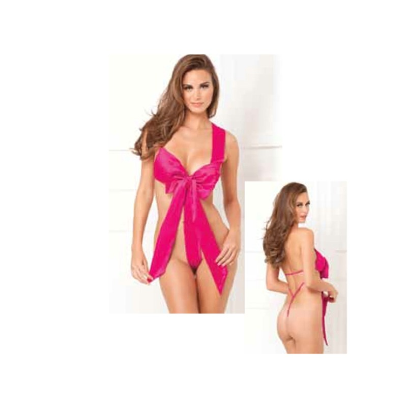Unwrap Me Satin Bow Teddy Hot Pink M/L