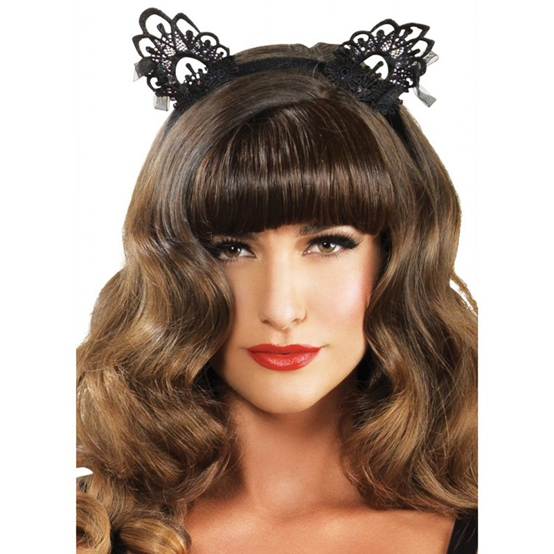 Venice Lace Cat Ears w/Organza Bows O/S Black