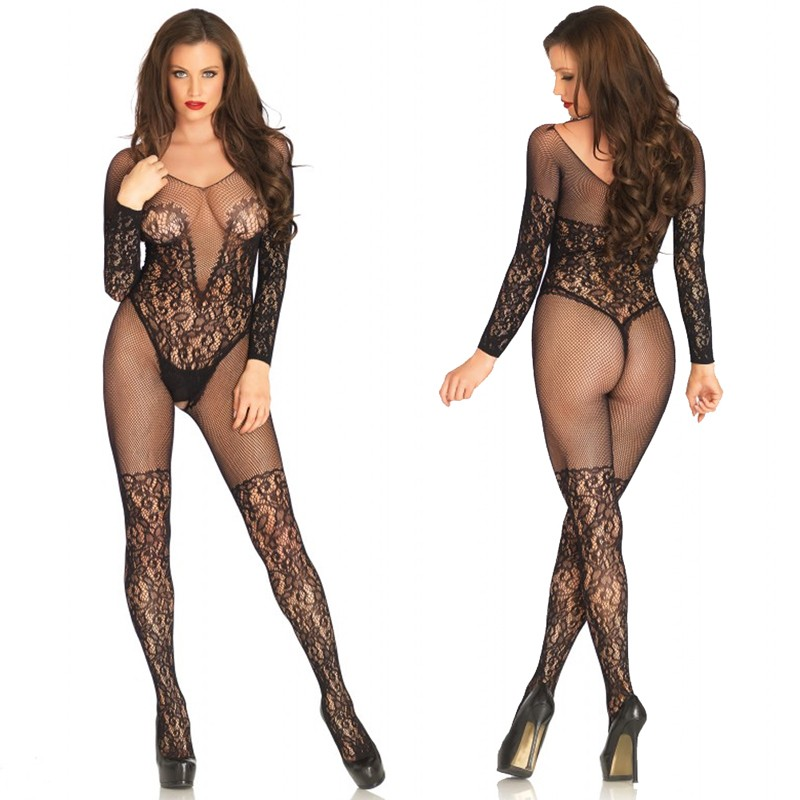 Vine Lace And Net Long Sleeved Bodystocking Black O/S