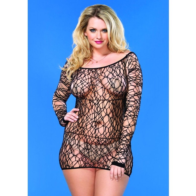 Web Net Long Sleeved Mini Dress Plus Size Black