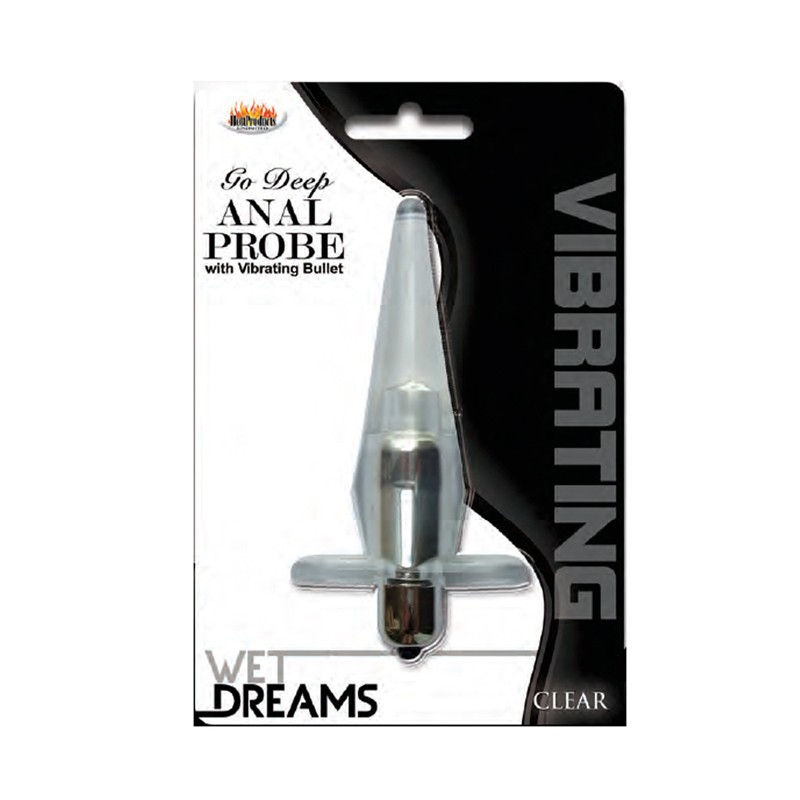Wet Dreams Go Deep Vibrating Anal Probe-Clear