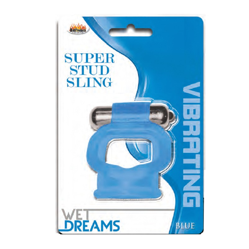 Wet Dreams Vibrating Super Stud Sling-Blue