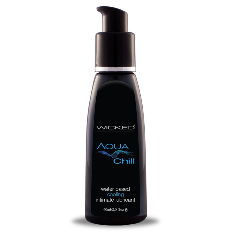 Wicked Aqua Chill Waterbased Lubricant 2 Oz (Cooling Lube) product detail shot.