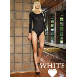 140D Opaque Long Sleeves Bodysuit O/S White