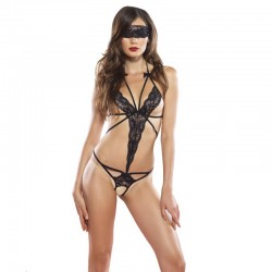 2pc Cage Strap Lace Crotchless Teddy,Lace Blindfold O/S Black