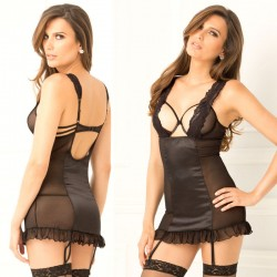 2pc Half Cup Open Chemise & G-String Set Black S/M