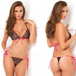2pc Lace Tie Up Bra & Thong Set